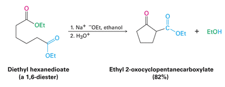 An example Dieckmann cyclization reactions producing a five-membered keto ester