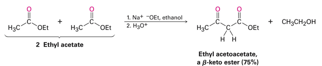 An example Claisen Condensation with 2 Ethyl acetate