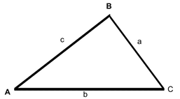 Triangle with sides a, b, c, and corresponding angles A, B, and C