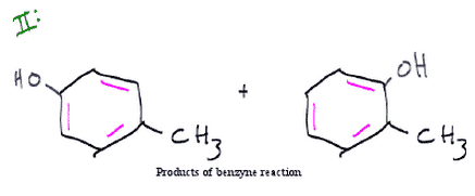 The products of the resonance structures of metafluoro-toluene after treatment with NaH and H30+